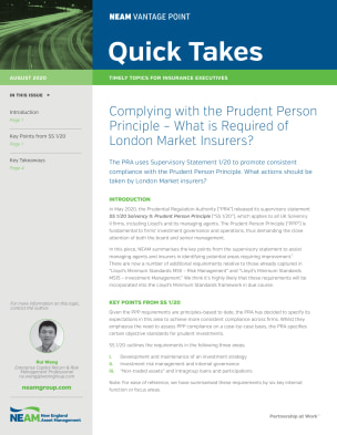 Complying with the Prudent Person Principle – What is Required of London Market Insurers?