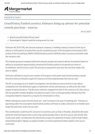 GrandVision/EssilorLuxottica: Fielmann lining up advisor for potentialremedy purchase - sources