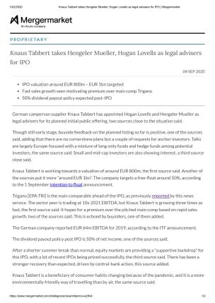 Knaus Tabbert takes Hengeler Mueller, Hogan Lovells as legal advisersfor IPO