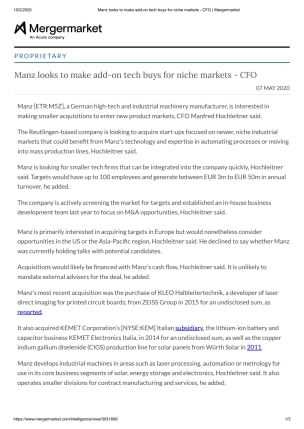Manz looks to make add-on tech buys for niche markets - CFO