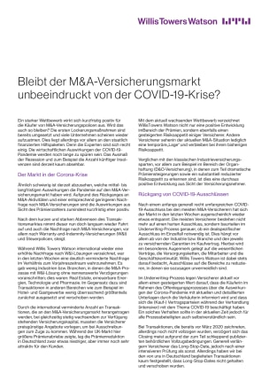 Bleibt der M&A-Versicherungsmarkt unbeeindruckt von der COVID-19-Krise?