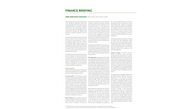 High-yield bond covenants: views from across the ocean